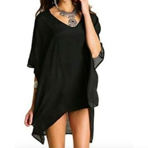 Umgee V-Neck Caftan Tunic Small Medium Sheer Black